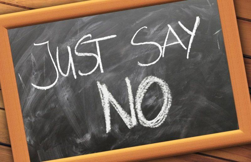 "Chalkboard with ""Just Say No"" written"