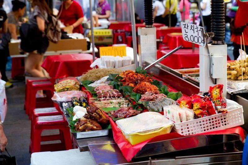 Food in asian street market