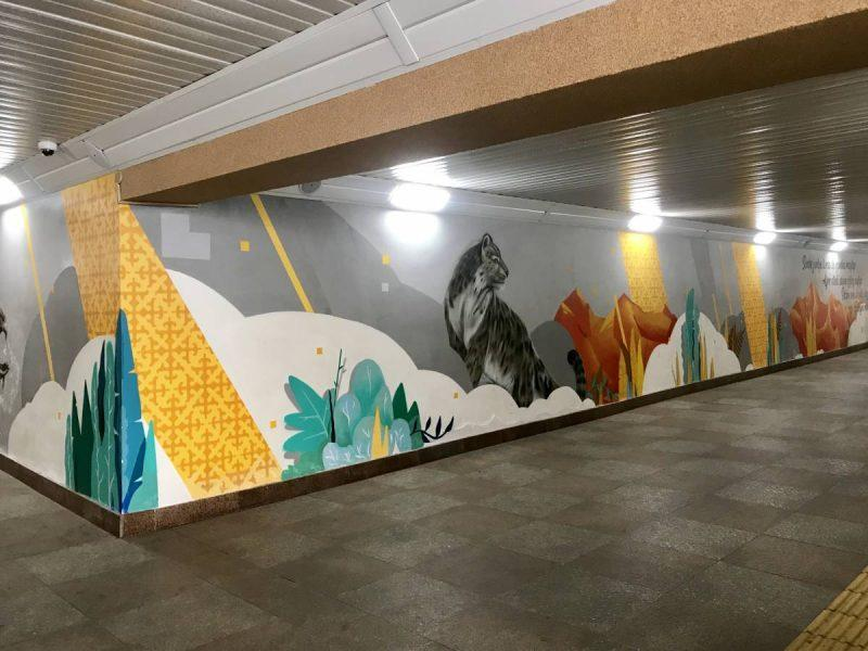 Street art in underground metro tunnel