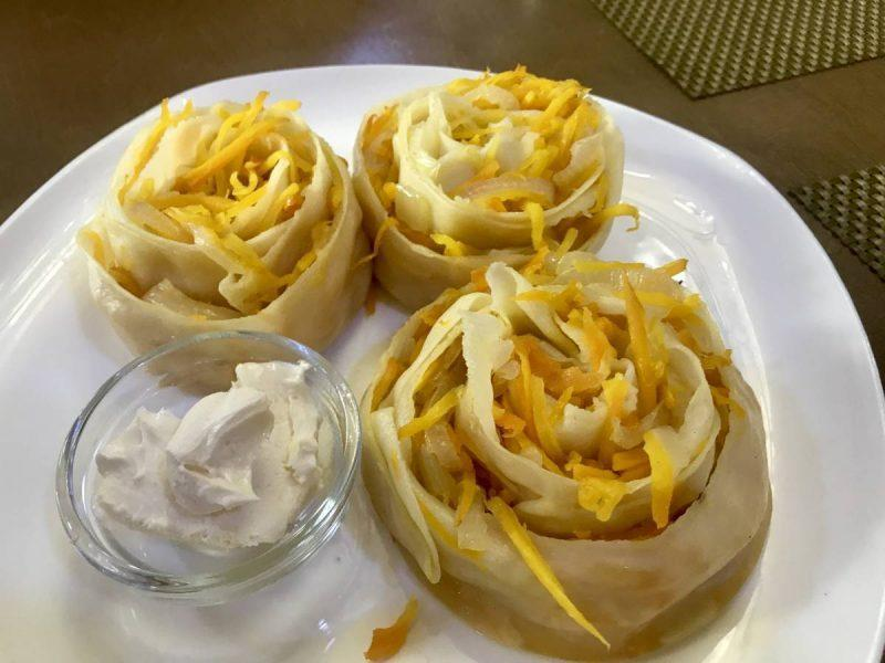 Ornate flower-shaped dumplings