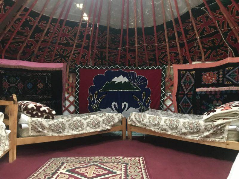 Inside of a yurt