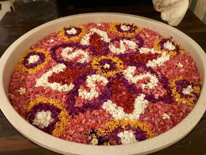 Flower petals make decorative design in water