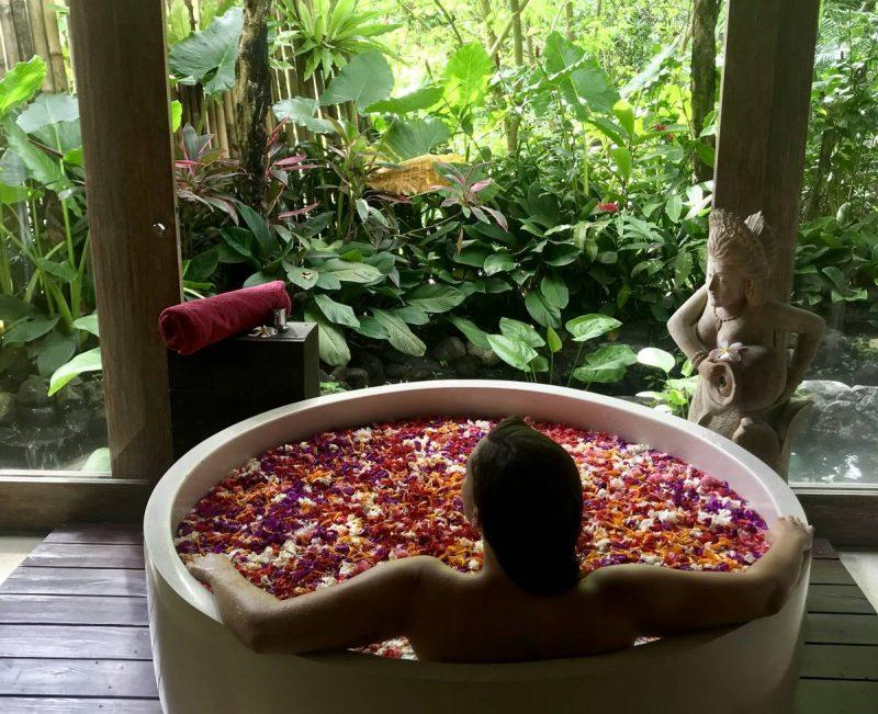 Sitting in a tub of flowers
