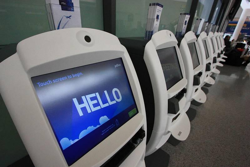 Self check-in monitors at the airport