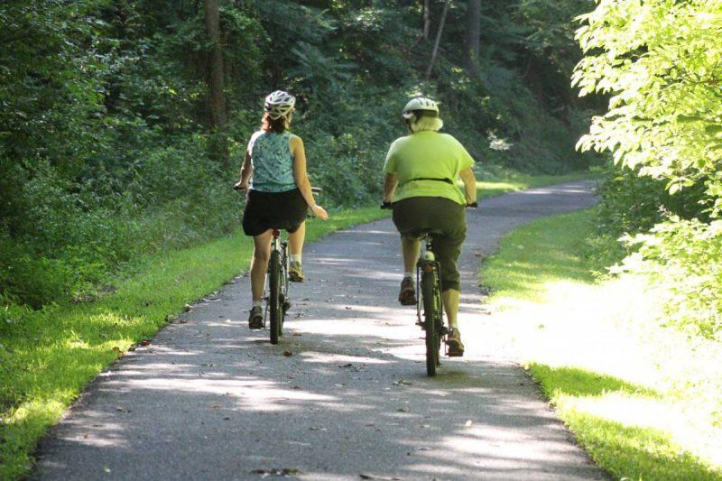 Women biking on a trail