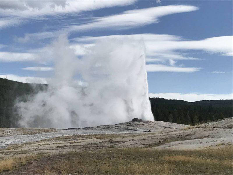 Old Faithful erupting