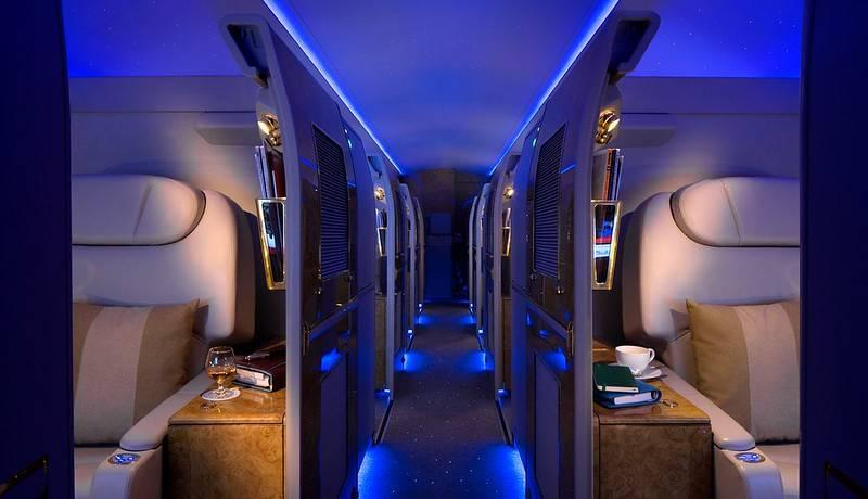 First class suite on airplane
