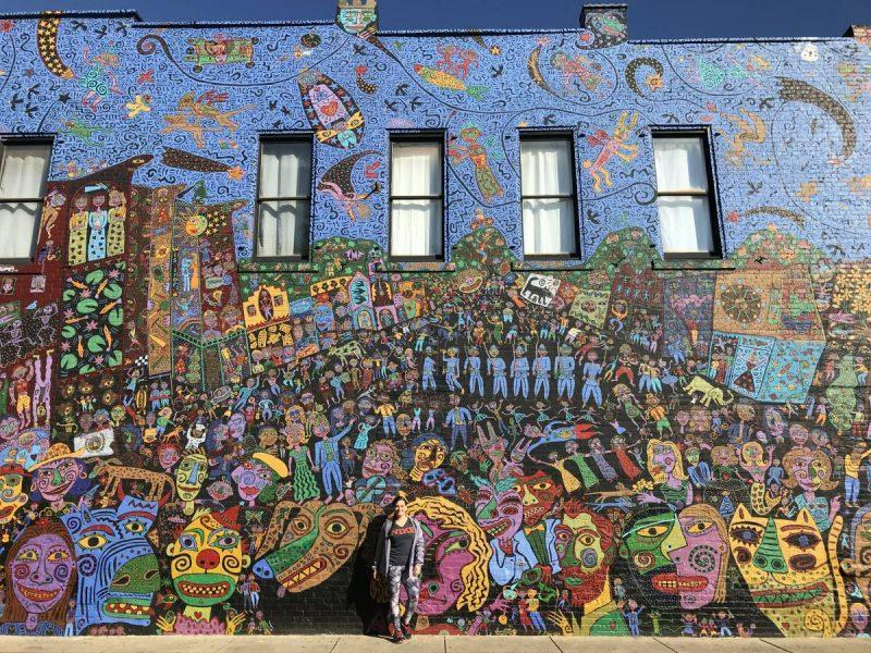 Wall with colorful street art