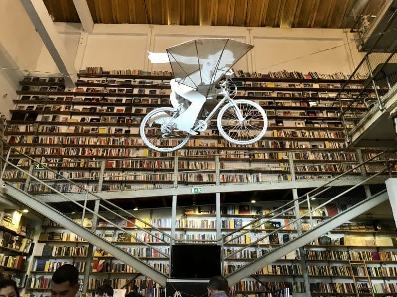 Massive bookstore with art installation