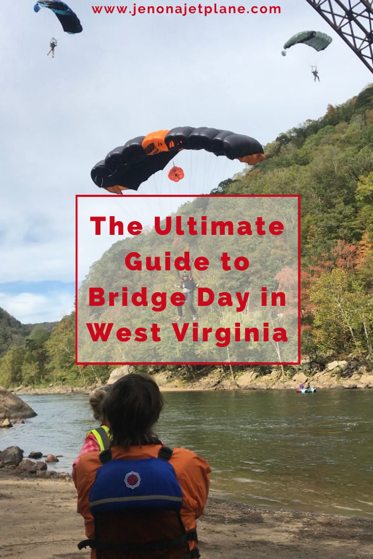 Bridge Day in West Virginia is an adrenaline junkie's dream! Learn all about this annual event where BASE jumpers throw themselves off the New River Gorge Bridge, the 3rd highest bridge in America. #bridgeday #bridgedaywv #bridgedaywestvirginia #newrivergorgebridge #westvirginiatravel