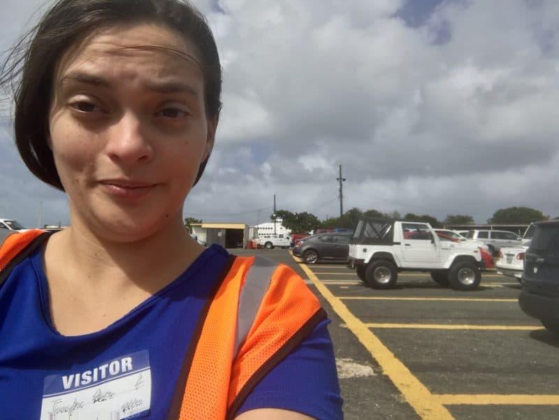 Walking in a parking lot