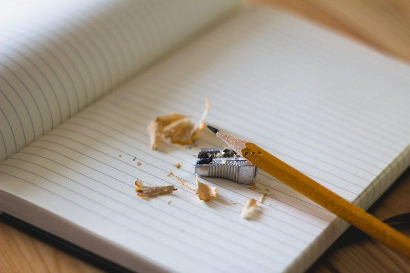 pencil sharpener on notebook