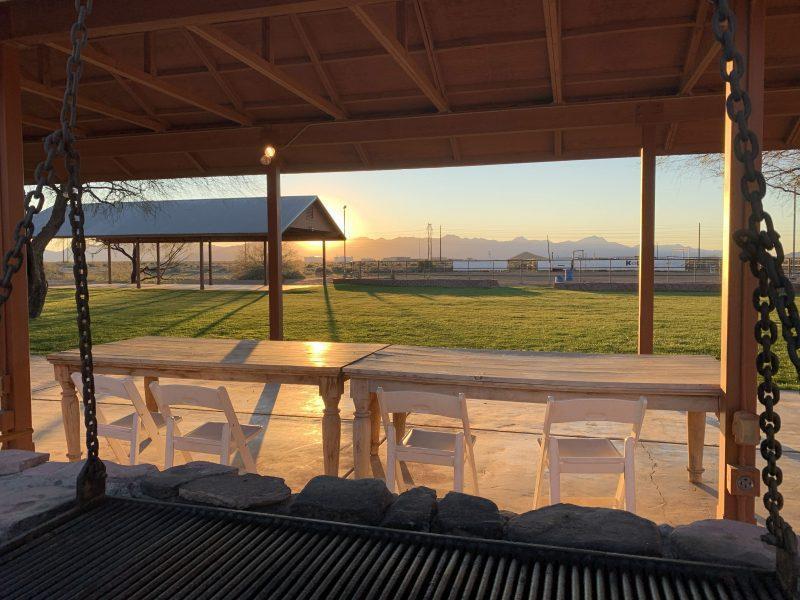 Sunset over patio area