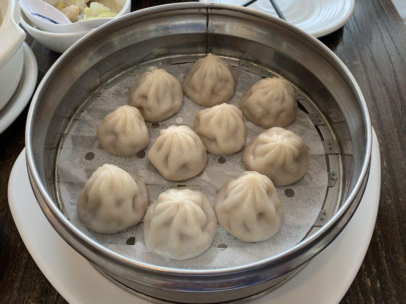 Dumplings in a tin bowl