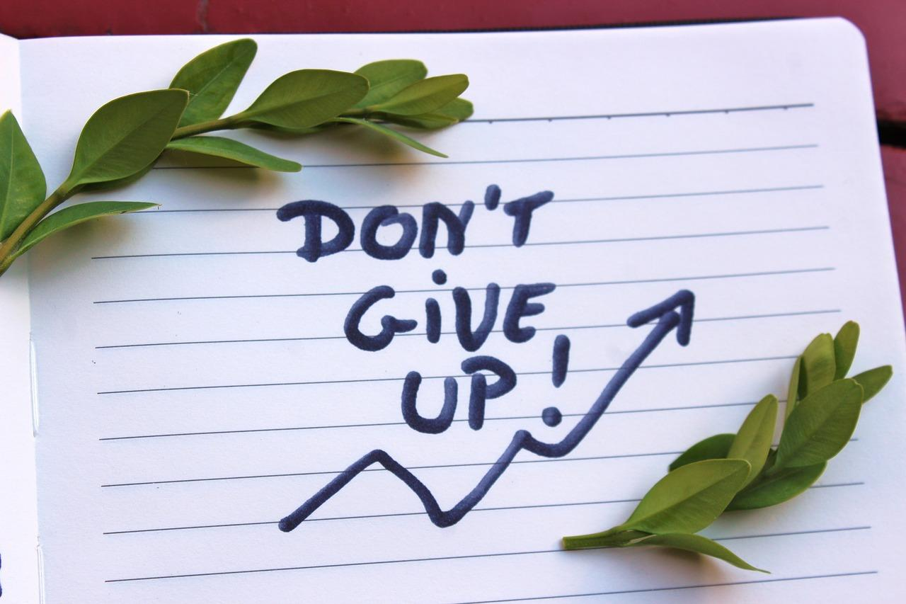 "Note saying ""don't give up"""