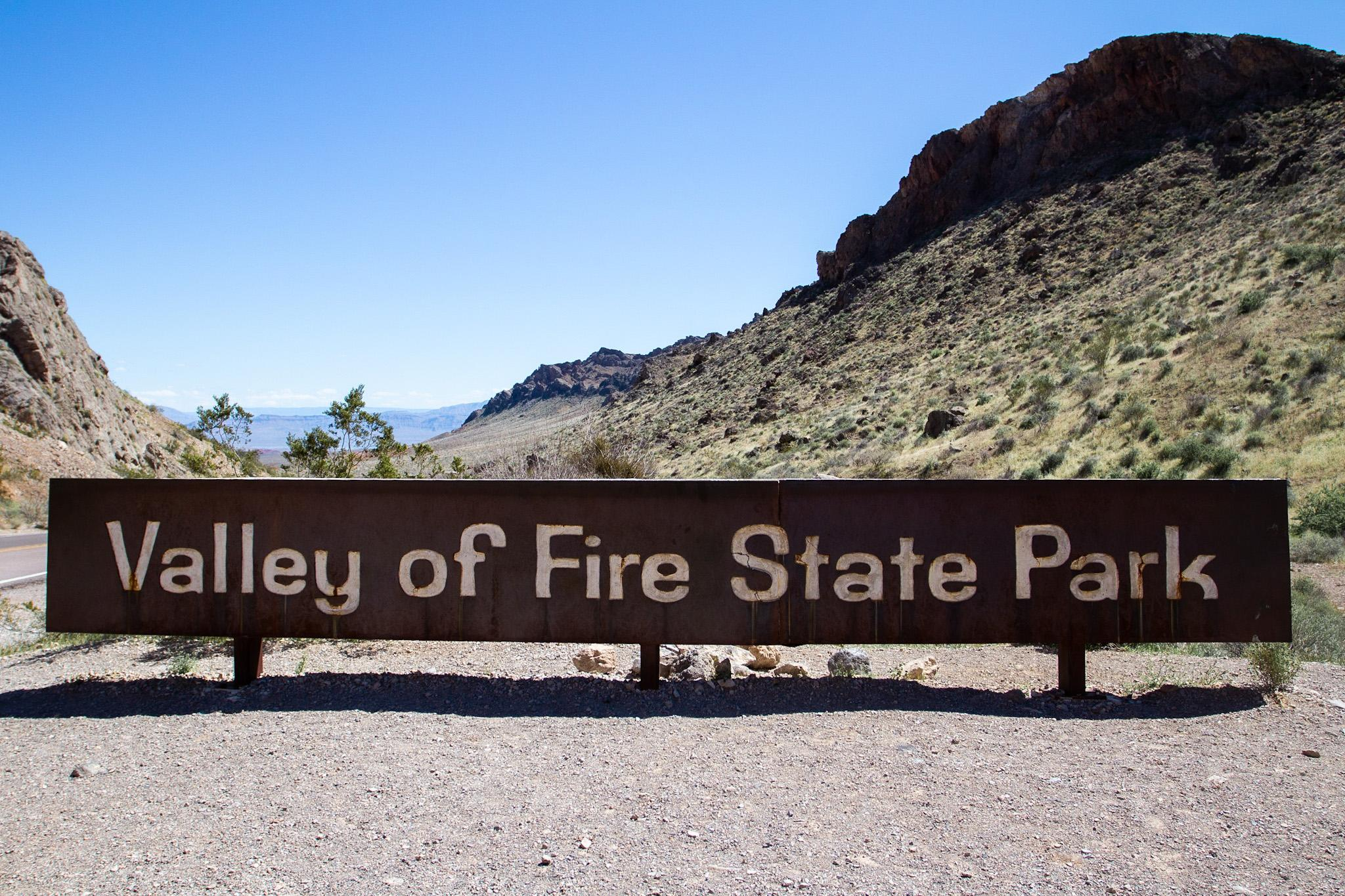 Valley of Fire entry sign