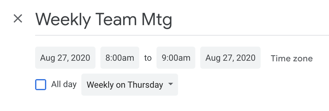 Team meeting in Google Calendar