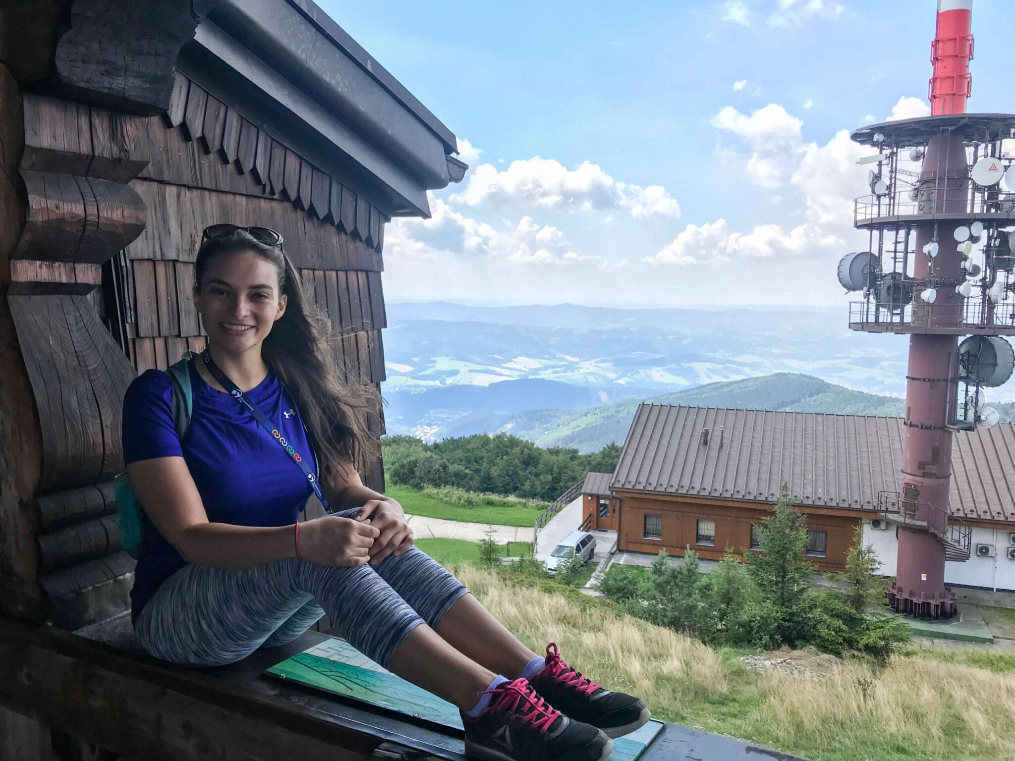Sitting in Window of Chapel at Radhošť Mountain
