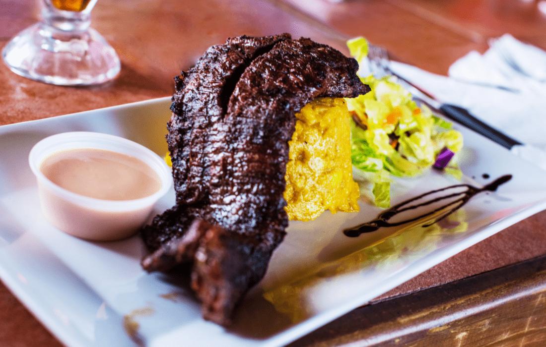 Steak and mofongo
