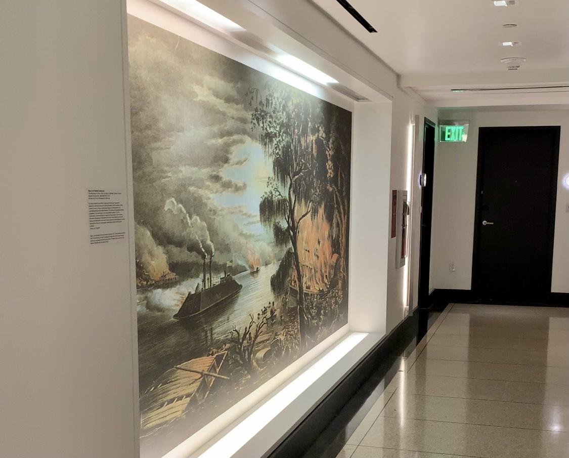 Hotel hallway with painting