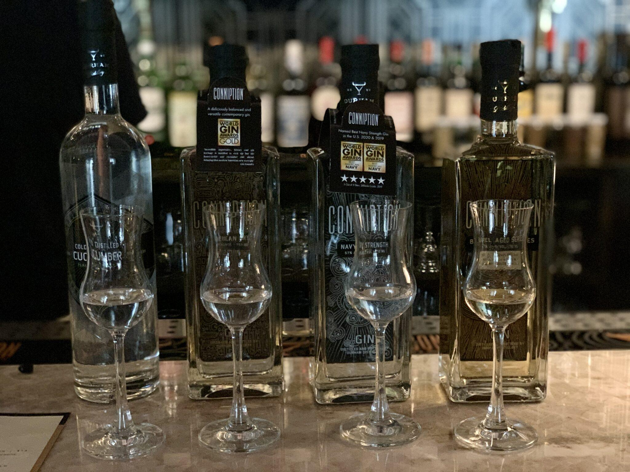 Gin lined up to taste