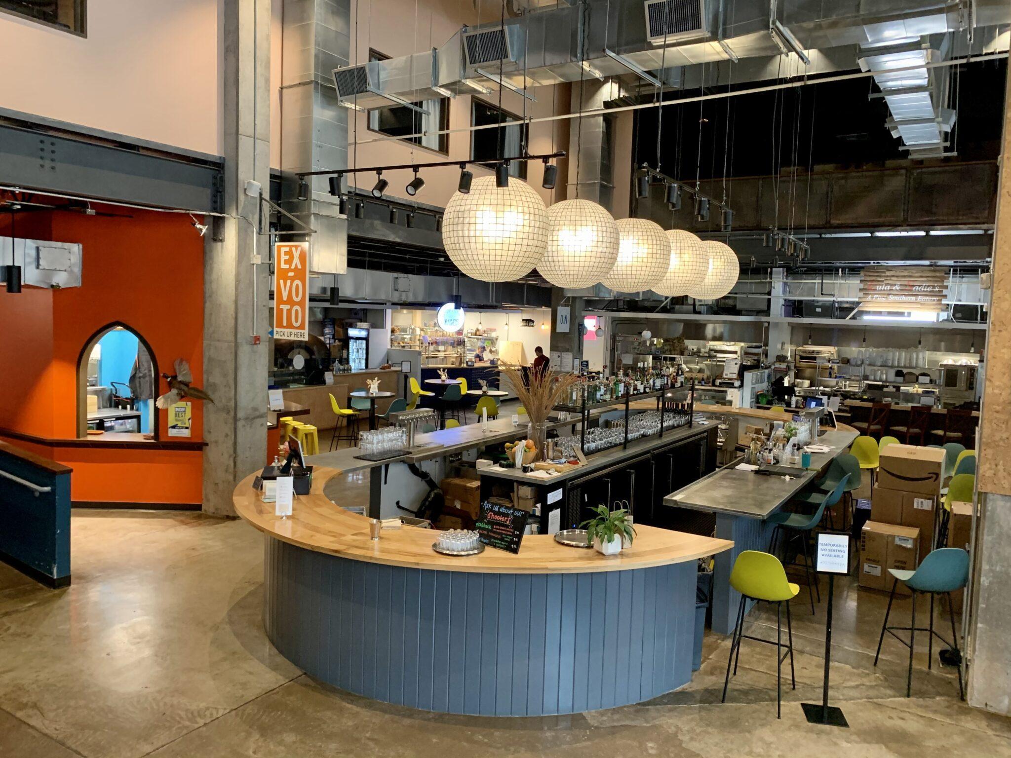 Colorful indoor food vendor space