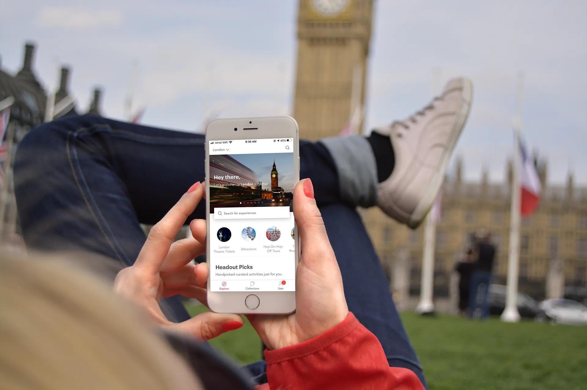 Headout App with Big Ben in the back