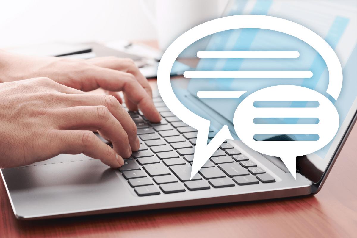 Chat bubbles on a laptop
