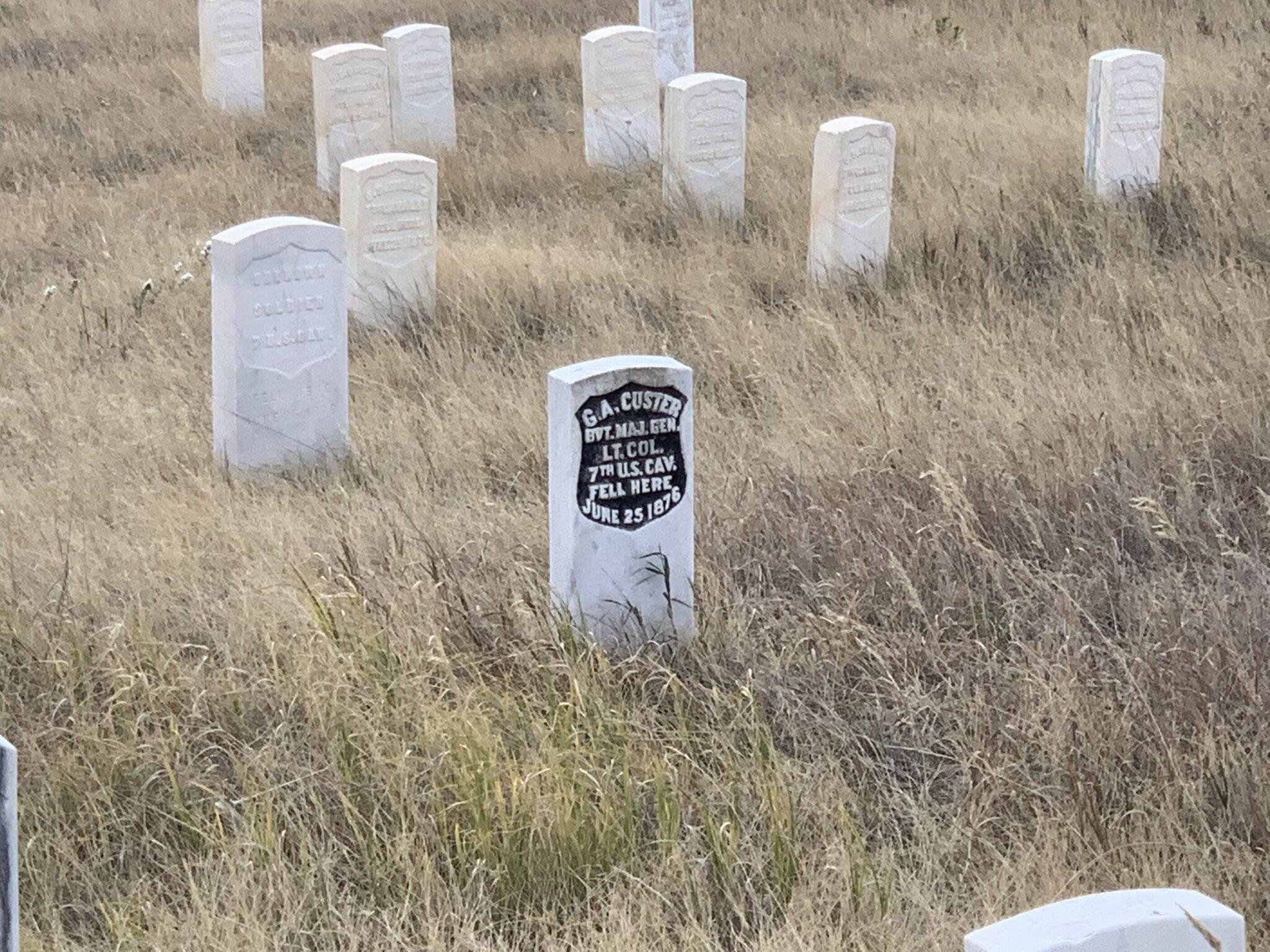 Marker with Custer's name where he fell