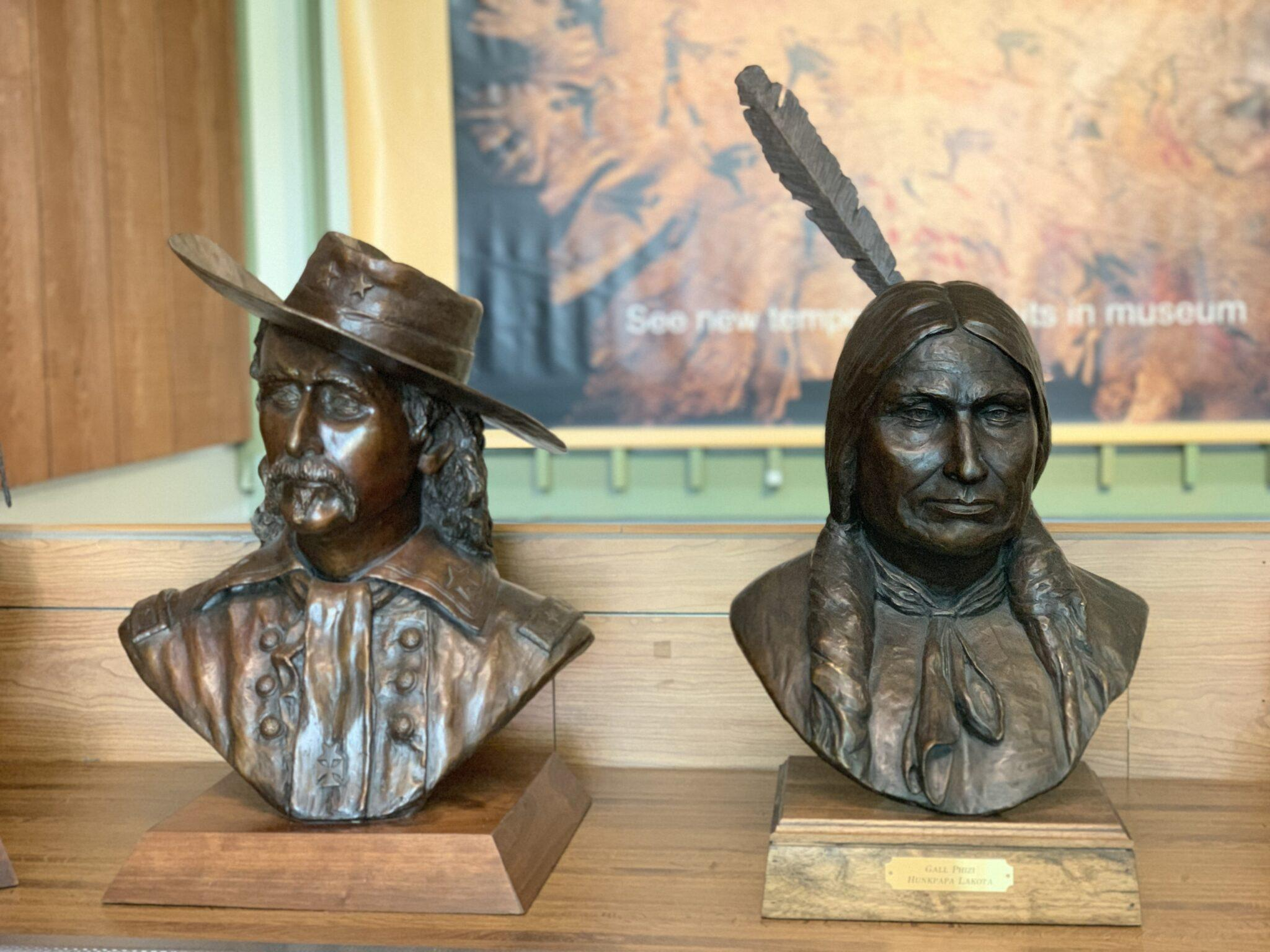 Bust statues of Calvary and Indian leaders
